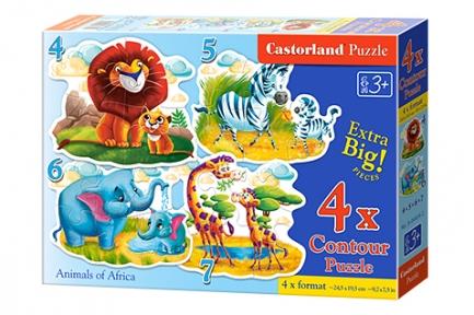 Пазл 4 в 1 Африканские звери 4, 5, 6, 7 эл