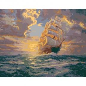 Картина по номерам Рассвет под парусами 40 х 50 см КНО2715 Идейка