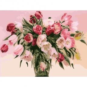 Картина по номерам Тюльпаны в вазе 40 х 50 см Идейка КНО1072