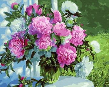 Картина по номерам Букет пионов в саду 50 х 40 см Brushme