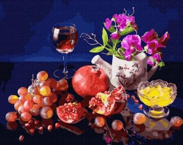 Картина по номерам Фрукты и вино 40 х 50 см Brushme