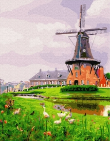 Картина по номерам Мельница на окраине 40 х 50 см Brushme
