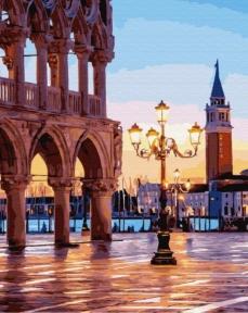 Картина по номерам Вечерняя площадь Венеции 50 х 40 см Brushme