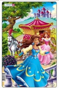 Пазл рамка-вкладыш LARSEN Принцесса в синем, серия МИДИ