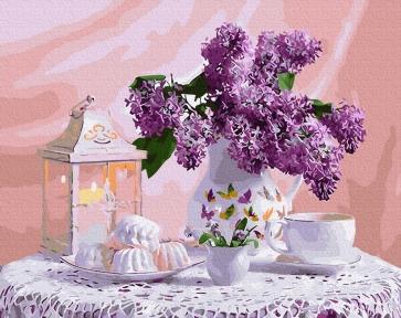 Картина по номерам Чаепитие и букет сирени 50 х 40 см Brushme