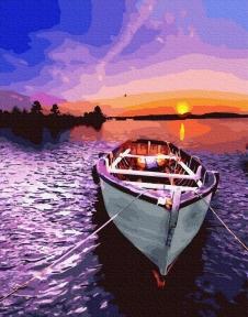 Картина по номерам Лодка на закате 40 х 50 см Brushme