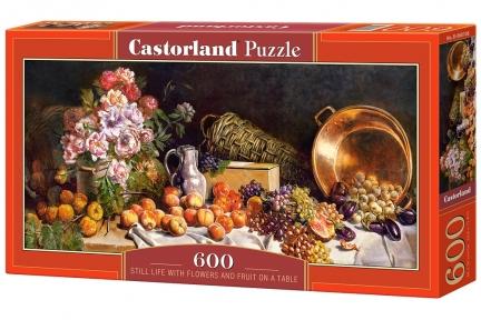 Пазл Натюрморт с цветами и фруктами на столе 600 эл панорамный