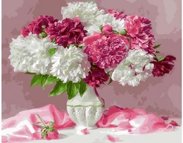Картина по номерам Белые и розовые пионы 40 х 50 см Brushme