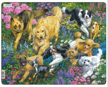 Пазл рамка-вкладыш LARSEN Собаки на лугу, серия МАКСИ