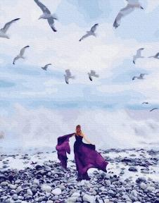 Картина по номерам Девушка и чайки 40 х 50 см Brushme