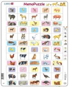 Пазл рамка-вкладыш LARSEN Мемо Животные и их детеныши, серия МАКСИ