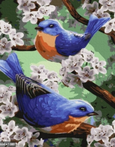 Картина по номерам Синички в первоцвете 50 х 40 см Brushme