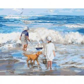 Картины по номерам Играя с волнами 40 х 50 см КНО2323 Идейка