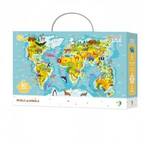 Пазл Карта мира Животные 80 эл