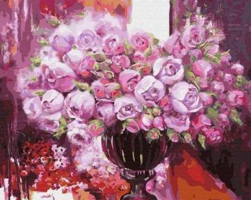 Картина по номерам Фиолетовое сияние в вазе 50 х 40 см Brushme