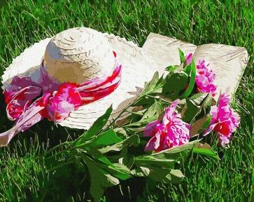 Картина по номерам Шляпа с пионами 40 х 50 см Brushme