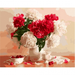 Картина по номерам Красно-белые пионы и вишни 40 х 50 см Brushme