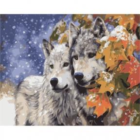 Картины по номерам Пара волков 40 х 50 см КНО2434 Идейка