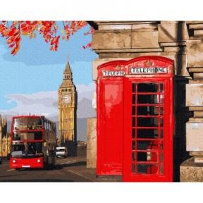 Картина по номерам Телефонные будки в Лондоне 40 х 50 см Brushme