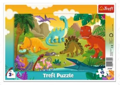 Пазл рамочный Динозавры 15 эл