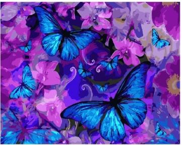 Картина по номерам Магические бабочки в цветах 40 х 50 см Brushme
