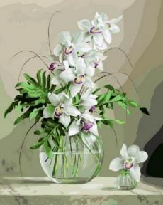Картина по номерам Орхидеи в вазе 50 х 40 см Brushme
