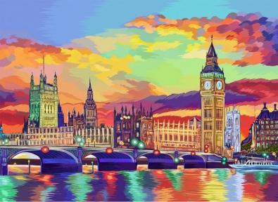 Картина по номерам Красочный Лондон 40 х 50 см Danko