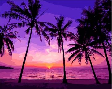 Картина по номерам Тропический закат 40 х 50 см Brushme