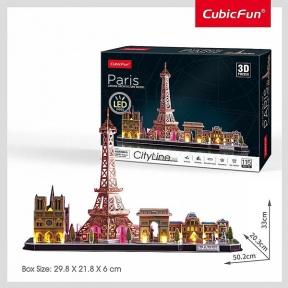 Трехмерный пазл City Line с LED подсветкой Париж Cubic Fun L525h