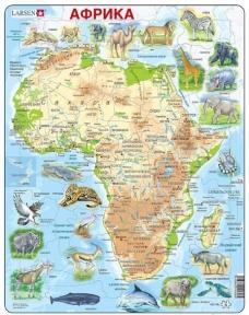 Пазл рамка-вкладыш LARSEN Карта Африки с животными, серия МАКСИ