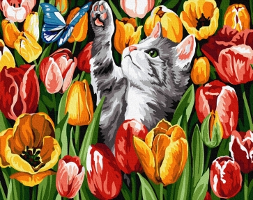 Картина по номерам Котик в тюльпанах 40 х 50 см Brushme