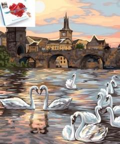 Картина по номерам Лебеди Праги 40 х 50 см Danko