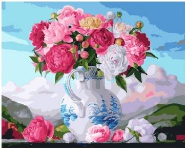 Картина по номерам Букет пионов в вазе 40 х 50 см Brushme