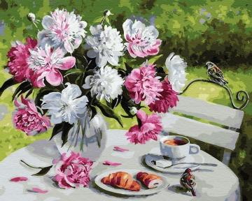 Картина по номерам Завтрак с пионами 40 х 50 см Brushme