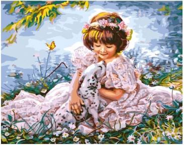 Картина по номерам Девочка с далматинцем 50 х 40 см Brushme