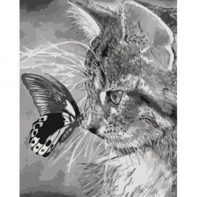 Картина по номерам Котенок и бабочка 40 х 50 см КНО2499 Идейка