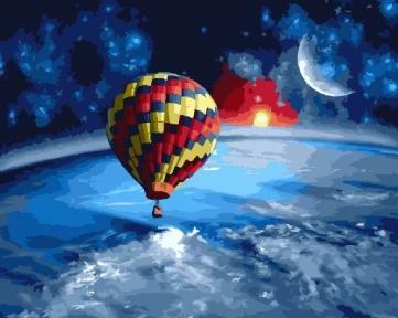 Картина Вокруг Земли на воздушном шаре 40 х 50 см Brushme
