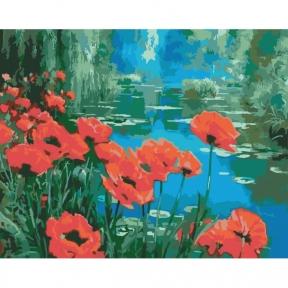 Картина по номерам Маки у пруда 40 х 50 см Идейка КНО2056