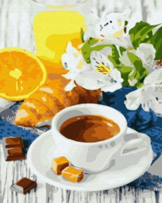 Картина по номерам Цитрусовый кофе 50 х 40 см Brushme