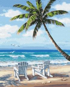 Картина по номерам Шезлонги на побережье 40 х 50 см Brushme