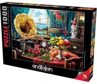 Пазл Натюрморт с граммофоном фруктами и розами 1000 эл Anatolian