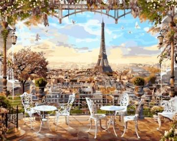 Картина по номерам Кафе с видом на Эйфелеву башню 40 х 50 см Brushme