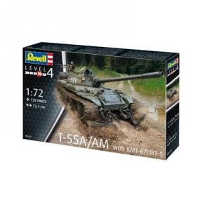 Сборная модель-копия Revell Танк Т-55А/АМ с колейным минным тралом КМТ-6 ур 4 м 1:72