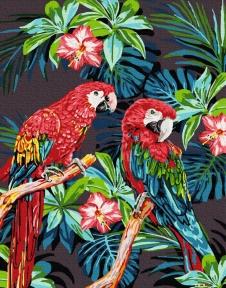 Картина по номерам Яркие попугаи 40 х 50 см Brushme