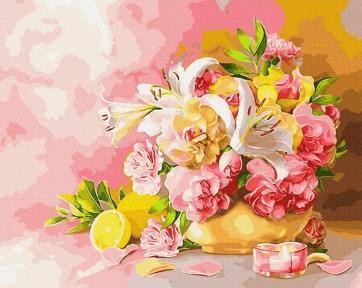 Картина по номерам Букет с лилиями 50 х 40 см Brushme
