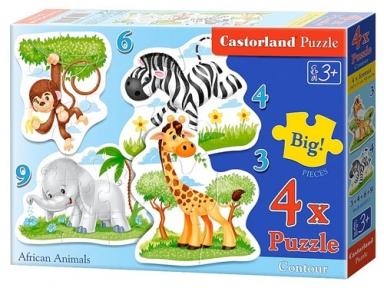 Пазл Африканские животные 3,4,6,9 эл 4 в 1 005017