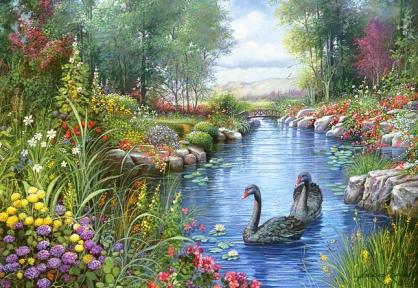 Пазл копия картины Черные лебеди Андрес Орпинас 1500 эл 151042
