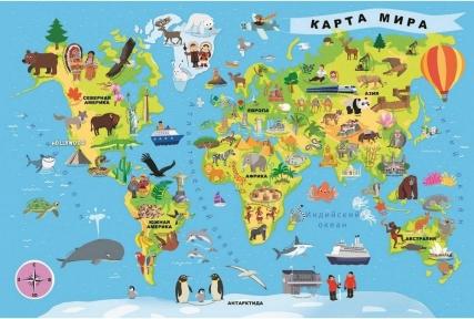 Пазл Карта мира на русском языке 100 эл 15527