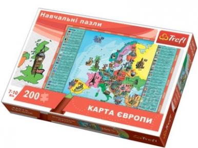 Пазл Карта Европы 200 эл укр.яз. 15530