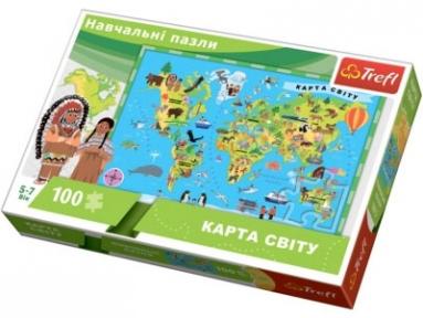 Пазл Карта мира 100 эл укр.яз 15531